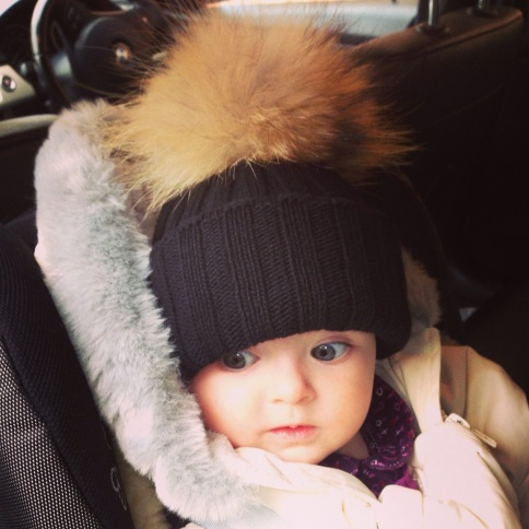 Fur bobble hats for babies