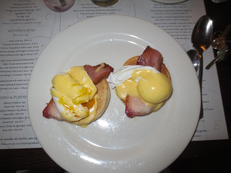 Delicious Eggs Benedict with ochre coloured yokes.