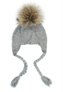 Earmuff fur bobble hat grey