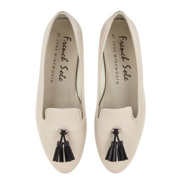 French Sole beige slippers black tassel
