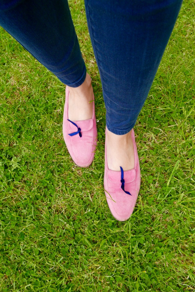 J Crew pink suede loafers